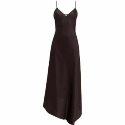 レイ Raey レディース ワンピース スリップドレス ワンピース・ドレス Dip-hem silk-satin slip dress Black