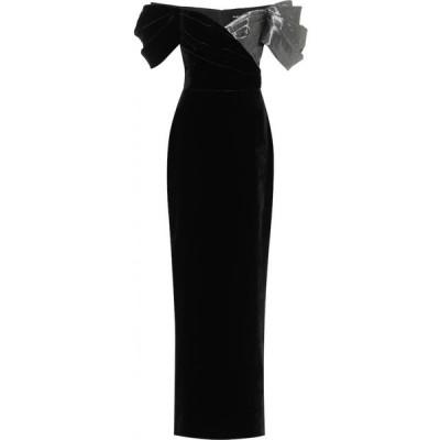 ロサリオ RASARIO レディース パーティードレス ワンピース・ドレス velvet off-shoulder gown Black/Silver