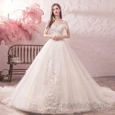 ウェディングドレス 花嫁ドレス 大きいサイズ ハイウエスト プリンセスドレス トレーンライン 披露宴 パーティードレス ナイトドレス 2020新作【sssnetshop】