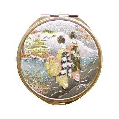 日本のおみやげ 日本のお土産で喜ばれるもの 和雑貨 和小物 外国人へのプレゼント 彫金コンパクトミラー(丸)/舞妓