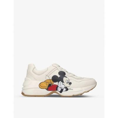 グッチ GUCCI レディース スニーカー シューズ・靴 Gucci x Disney Mickey Mouse Rhyton leather mid-top trainers BEIGE COMB