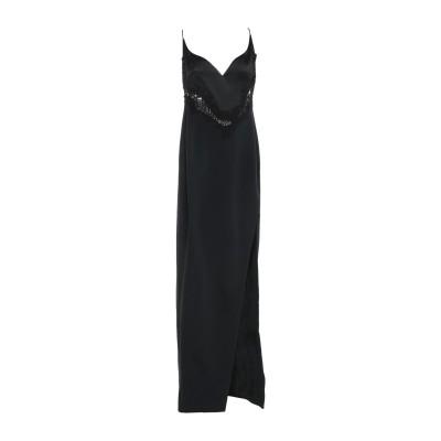 デヴィッド・コーマ DAVID KOMA ロングワンピース&ドレス ブラック 12 アセテート 64% / レーヨン 36% / コットン / ポリ