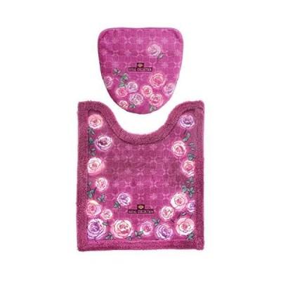【セット買い】オカ(OKA) ロイヤルコレクション チェルシー トイレ2点セット(ロングトイレマット+フタカバー) ピンク