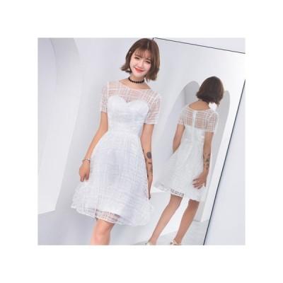 チェック 透け感 パーティードレス フレアスカート ひざ丈 レディース ワンピース お呼ばれドレス kh-0672