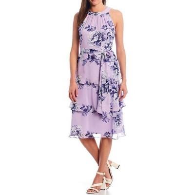 ジェシカハワード レディース ワンピース トップス Halter Neck Pleated Tiered Sleeveless Dress