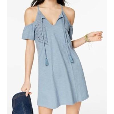 Roxy ロキシー ファッション ドレス Roxy NEW Blue Womens Size XS Cold Shoulder Eyelet Trim Shift Dress