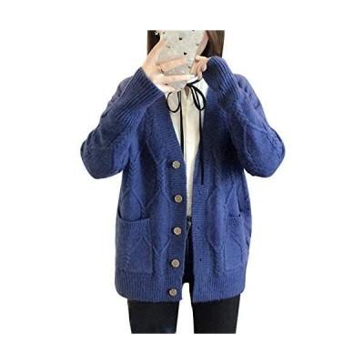 [ジョプリンアンドコー] 7カラー ゆったりカーディガン ケーブル編み リブ袖 ポケット付き 秋物 冬物 レディース (ネイビー S)