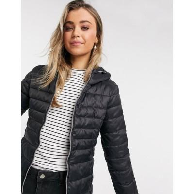 オンリー レディース コート アウター Only quilted slimline hooded coat in black Black