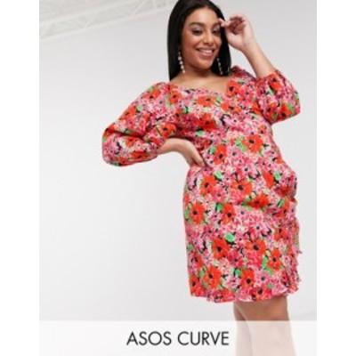 エイソス レディース ワンピース トップス ASOS DESIGN Curve cotton poplin wrap mini dress with puff sleeves in bright floral print