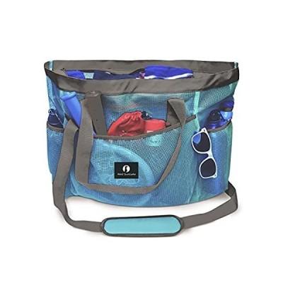 Red Suricata Large Mesh Beach Bag ? Beach Bags and Totes (Celeste Light Blu