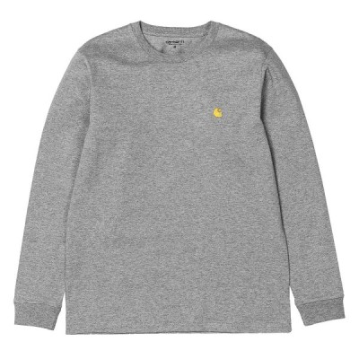 カーハート チェイス 長袖 Tシャツ グレーヘザー/ゴールド ルーズフィット ロンT CARHARTT WIP L/S CHASE T-SHIRT GREY HEATHER/GOLD I026392