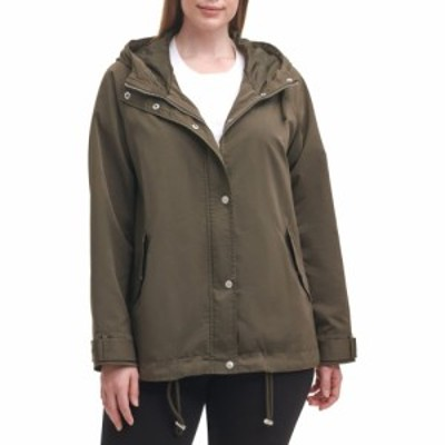 リーバイス LEVIS レディース レインコート フード アウター Hooded Peached Water Resistant Rain Jacket Army Green
