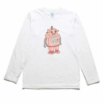 ロボット ピンク デザイン・アート 長袖Tシャツ ロングスリーブ