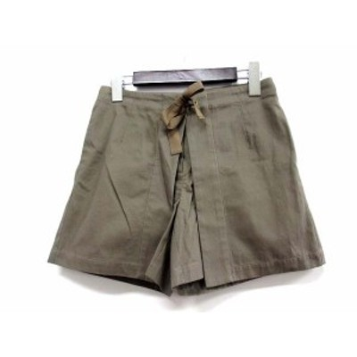 【中古】ナチュラルビューティーベーシック ショート パンツ XS カーキ コットン 無地 シンプル リボン デザイン レディース