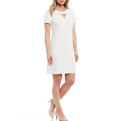 アンクライン レディース ワンピース トップス Keyhole Bow Knit Short Sleeve Shift Dress Anne White