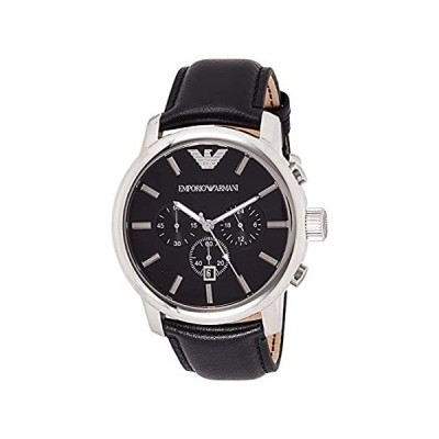 Emporio AR0431 Armani Gents Stainless Steel Chronograph Watch with Black Le
