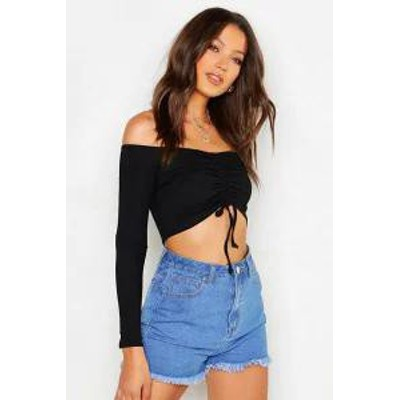 Boohoo レディースその他 Boohoo Tall Off The Shoulder Ruched Rib Crop black