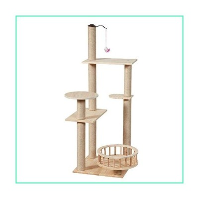 AO 49.2 Inches Cat Tree Modern Wooden Cat Furniture Featuring 2 Dangling Toys, Sisal-Covered Scratching Posts, and Perch並行輸入品