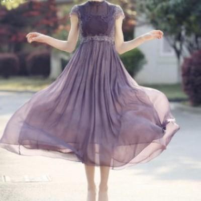 新作 ロングドレス パーティードレス レース 刺繍 袖あり フレアスカート 結婚式 二次会  お呼ばれ フェミニン 花柄 20代 30代
