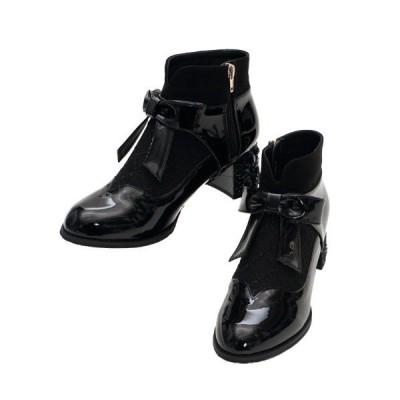 ブーツ ローズヒールショートブーツ