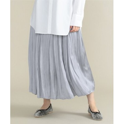 【定番人気】サテンプリーツロングスカート