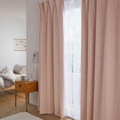 1級遮光カーテン(光沢のあるフラワー)/ローズピンク/幅100×丈95cm(2枚組)