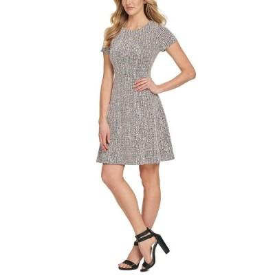 ダナ キャラン ニューヨーク ワンピース トップス レディース Textured Fit & Flare Dress Pink/black