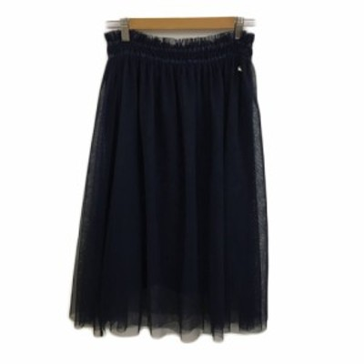 【中古】アーノルドパーマー スカート フレア ギャザー ロング チュール ウエストゴム 無地 1 紺 ネイビー