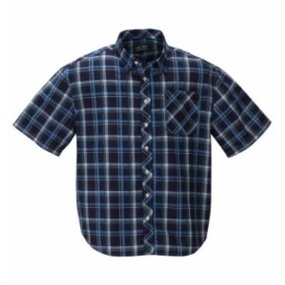 大きいサイズ メンズ Mc.S.P チェック 半袖 シャツ ネイビー × サックス 1257-0200-2 3L 4L 5L 6L 8L