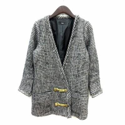 【中古】ロフ loaf ノーカラージャケット 総裏地 ツイード O グレー /MN レディース