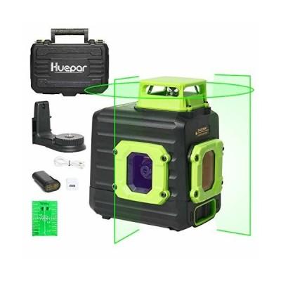 Huepar グリーン レーザー墨出し器 360° 横 フルライン 緑色 レーザー クロスライン 垂直ライン2本 水平ライン360