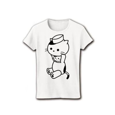 着ぐるみバイトねこ(ファーストフード・和食店のお仕事) リブクルーネックTシャツ(ホワイト)