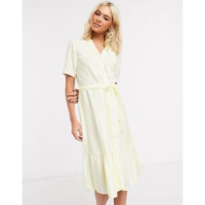 ジェイディーワイ レディース ワンピース トップス JDY midi dress with ruffle hem in yellow stripe