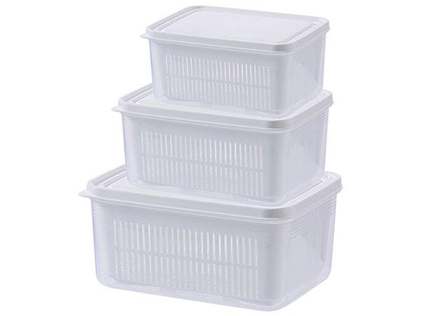 萬用雙層瀝水保鮮盒3件組(大+中+小)白色【DS000816】