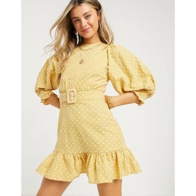 エイソス レディース ワンピース トップス ASOS DESIGN broderie puff sleeve mini dress with pephem and eyelet back in mustard Mustard