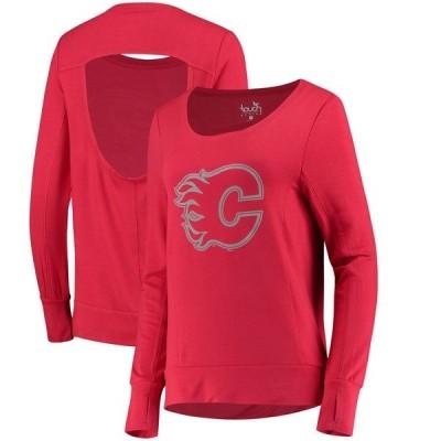 アリッサミラノ パーカー・スウェットシャツ アウター レディース Calgary Flames Touch by Alyssa Milano Women's Lateral Sweatshirt Red
