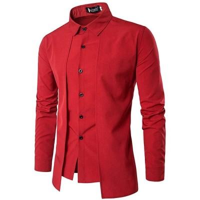 (SGL Collection) ドレスシャツ メンズ 長袖 モード 系 デザイン レギュラー スタンダード カラー スリム タイト フィット バイカ