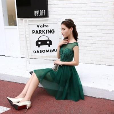 イブニングドレス パーティードレス 安い 可愛い レース ミニドレス ドレス ショート丈 チュール パーティー 発表会 演奏会