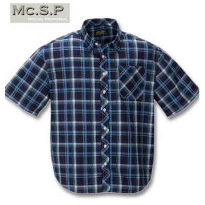 大きいサイズ Mc.S.P チェック半袖シャツ ネイビー×サックス 3L 4L 5L 6L 8L/1257-0200-2-39