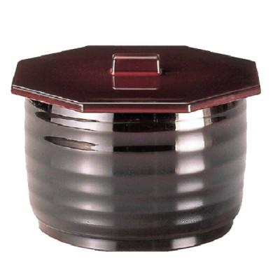切立ロクロ目飯器(小) ABS樹脂 無地八角蓋付溜 2-335-10