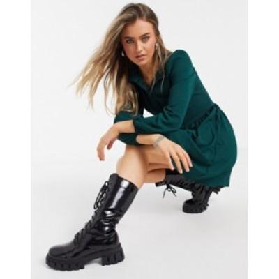 エイソス レディース ワンピース トップス ASOS DESIGN long sleeve button front mini smock dress in green Forest green