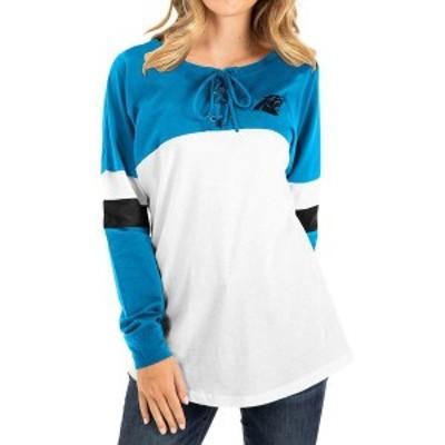 ニューエラ レディース Tシャツ トップス Carolina Panthers New Era Women's Athletic Varsity Lace-Up Long Sleeve T-Shirt Blue/White