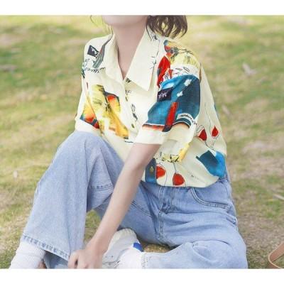 シャツ 半袖シャツ プリント 薄手 大人カジュアル レトロ 春夏 デート お出かけ