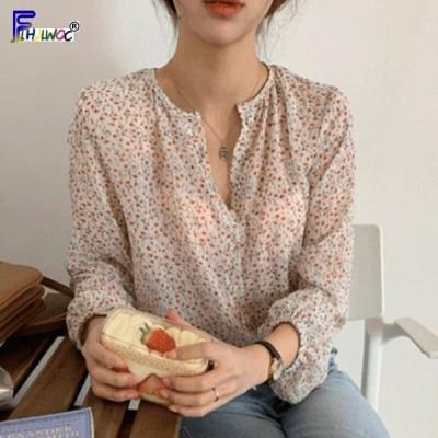 花柄 プリント ヴィンテージ ブラウス シャツ 女性 韓国 プレッピースタイル スリム フラワー レッド シフォン トップス レディース ファッショ