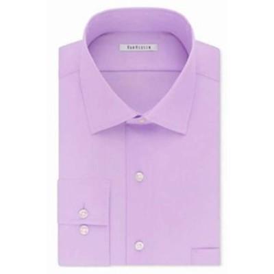 ファッション ドレス Van Heusen NEW Purple Mens Size 15 1/2 Stretch Solid Flex Dress Shirt