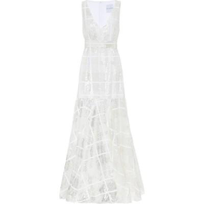 ハルパーン Halpern レディース パーティードレス ワンピース・ドレス sequined checked gown White Check
