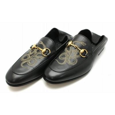 (靴)GUCCI グッチ ホースビット スネーク ローファー スリッポン モカシン レザー 黒 ブラック ゴールド金具 メンズ サイズ#51/2 23.5cm 411764 DLC001000(k)
