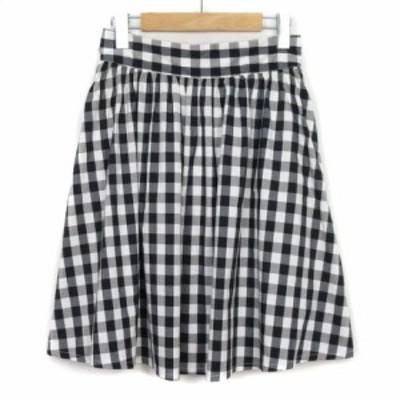 【中古】フリーズマート Free's Mart スカート フレア ギンガムチェック コットン M 黒 ブラック 白 レディース
