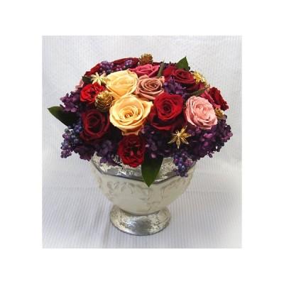 【ゴージャス】アンティークポット 赤いバラのプリザーブドフラワーのアレンジメント
