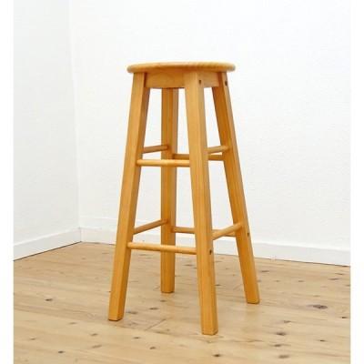 ラッカー塗装 カントリーパインスツール Lサイズ 座面70cm 完成品 無垢木製 ハイスツール  カウンターチェア 重さ約3kg カウンター高さ95〜100cmに合う椅子